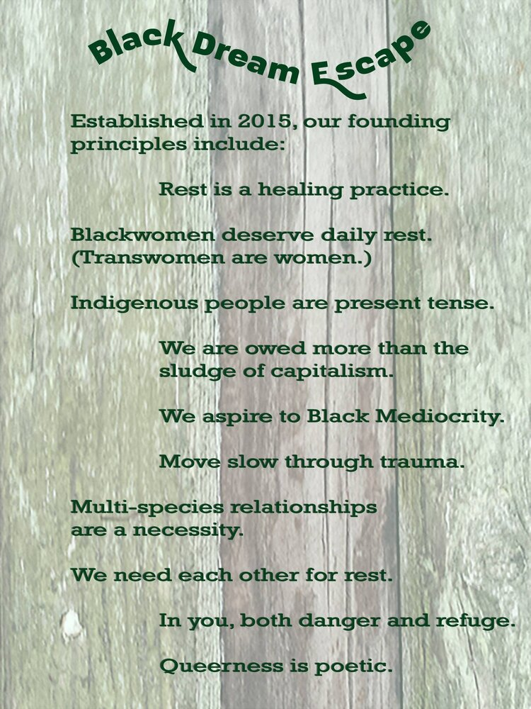 """[Image Description: Backgrounded in grayed out, with a textured close-up of green and gray rustic wood. Words are in forest green, with Black Dream Escape appearing up top in an whimsical arrangement, as if blown by wind. The words: """"Founded in 2015, our founding principles include: Rest in a healing practice. Blackwomen deserve daily rest. (Transwomen are women.) Indigenous people are present tense. We are owed more than the sludge of capitalism. We aspire to Black Mediocrity. Move slow through trauma. Multi-species relationships are a necessity. We need each other for rest. In you, both danger and refuge. Queerness is poetic.""""]"""