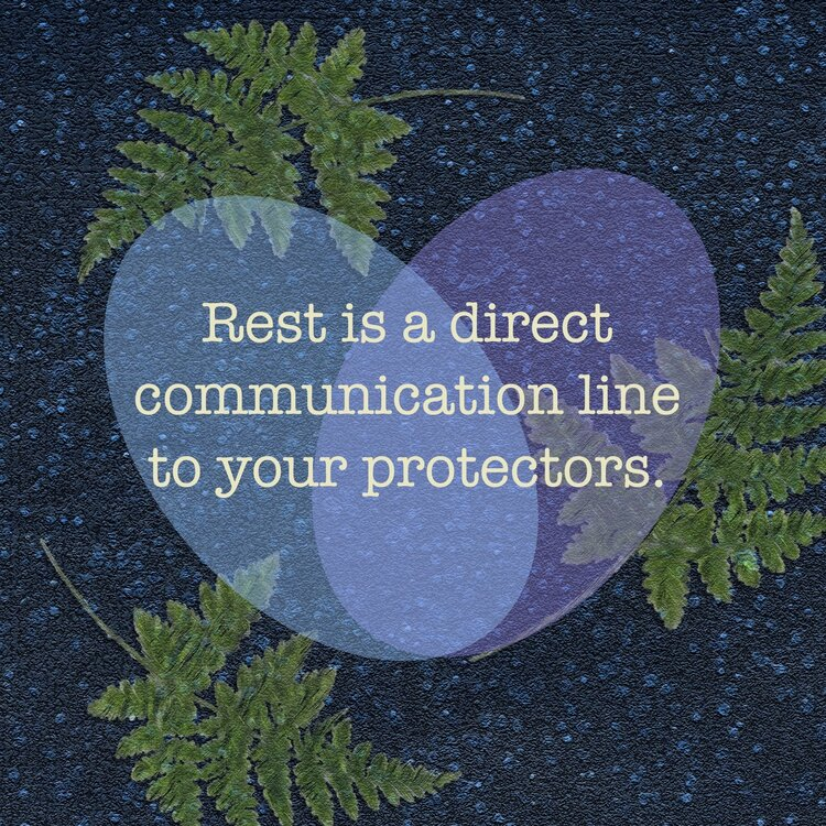 """[Image description: Dark blue background, dotted with light blue, giving it a somewhat rainy appearance. Three green fern fronds are arrayed on this background as well. Two light blue intersecting ovals suggest a heart, and inside the heart, the words: """"Rest is a direct communication line with your protectors.""""]"""