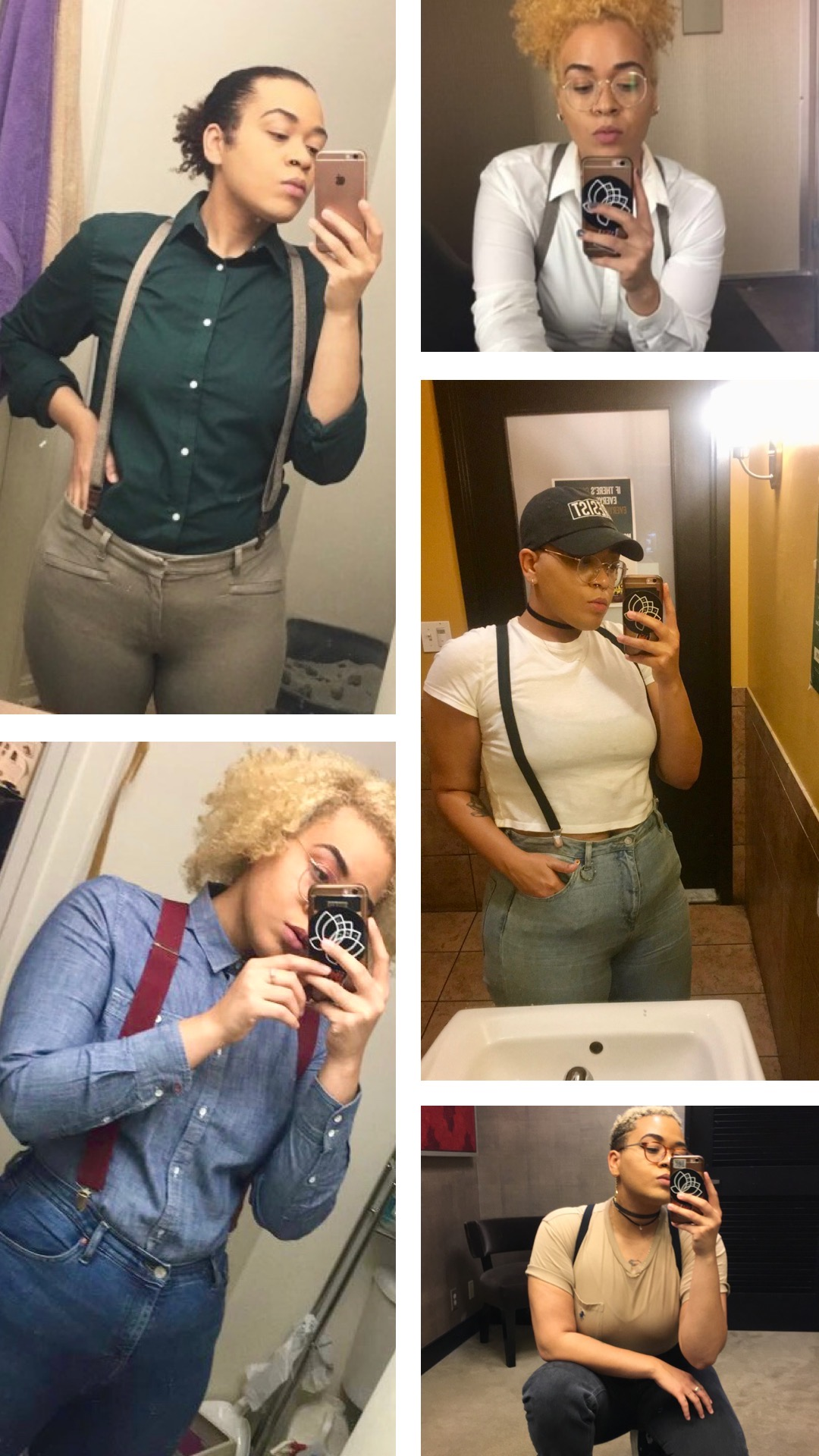 A five-photo collage of an agender person in various poses and outfits with suspenders being worn
