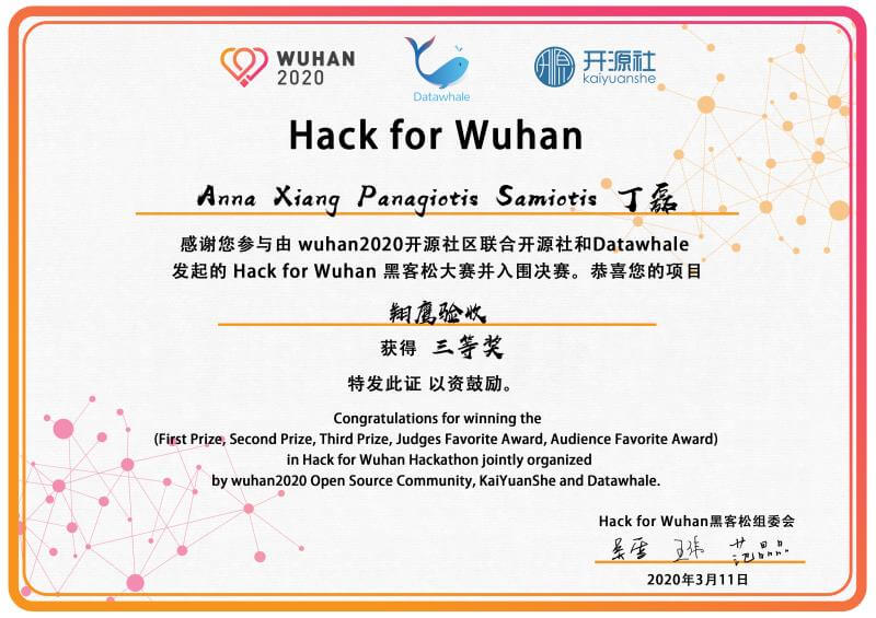 3rd Place Award from Hack for Wuhan