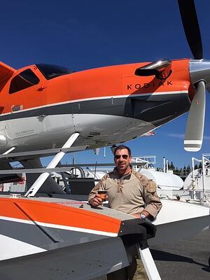 Jim Wortham with Plane