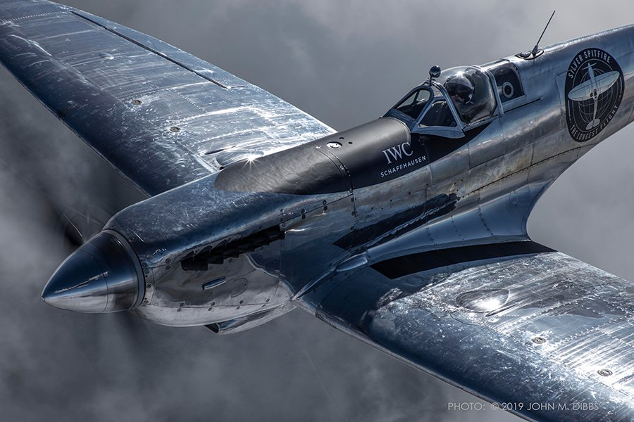Silver Spitfire close up in the sky