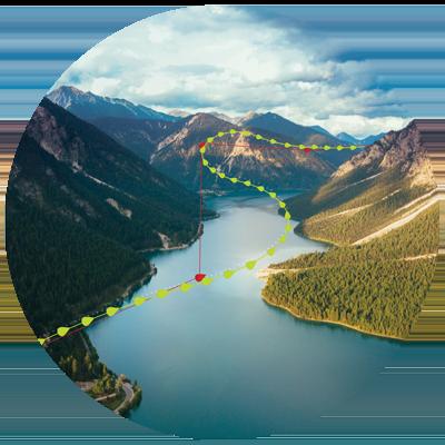 high definition flight tracks displayed on landscape background