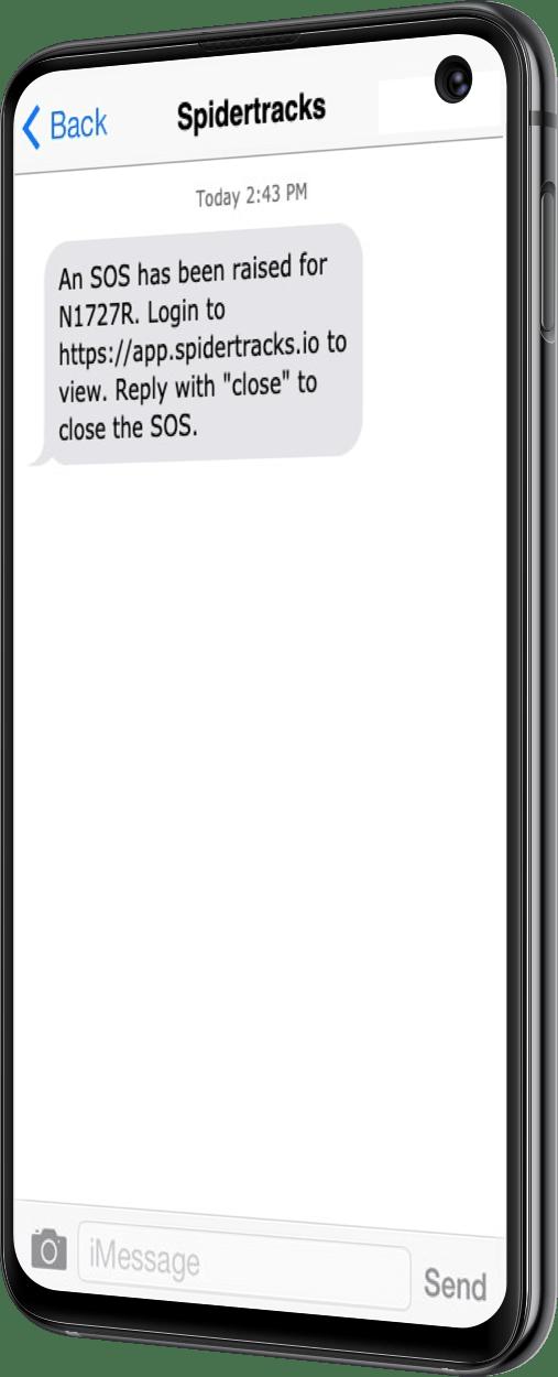mobile phone displaying sos alert in spidertracks app