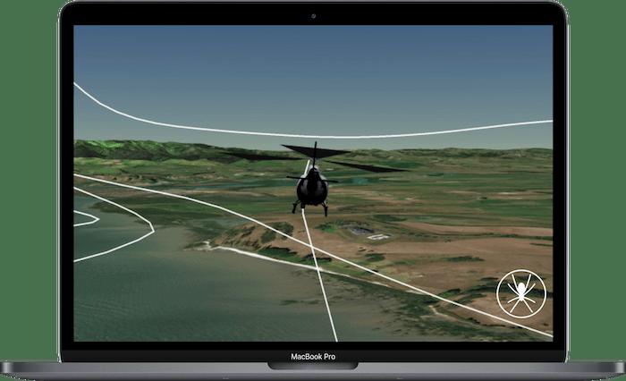 laptop displaying 3d flight replay