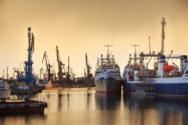 Fishing vessels in the harbour in Russia