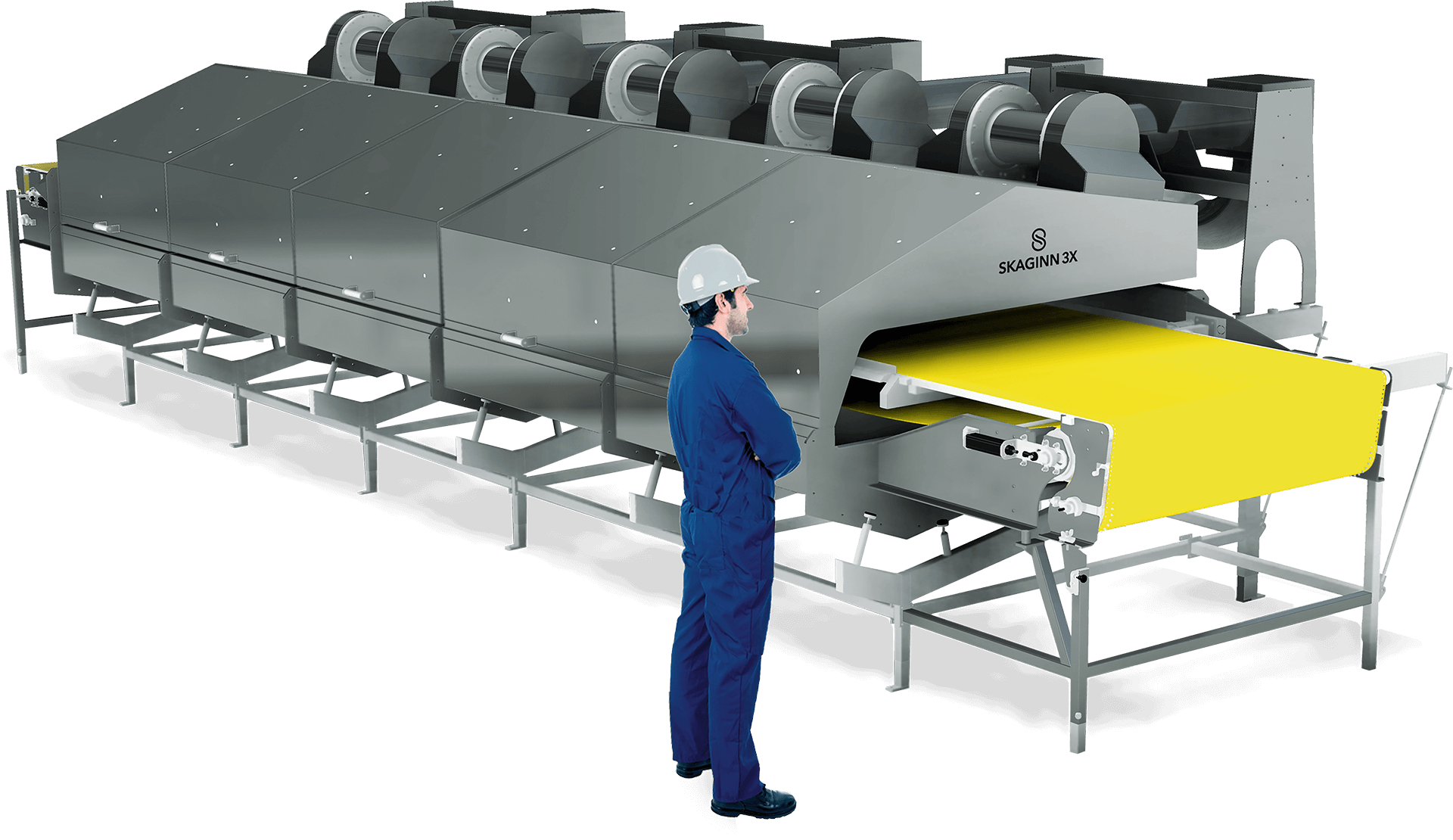 Modular design requiring minimal floor space and easy to integrate into existing production lines. Freezes from below, crust-freezes from above with airflow.