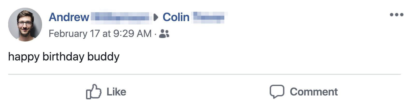 Facebook wall birthday message