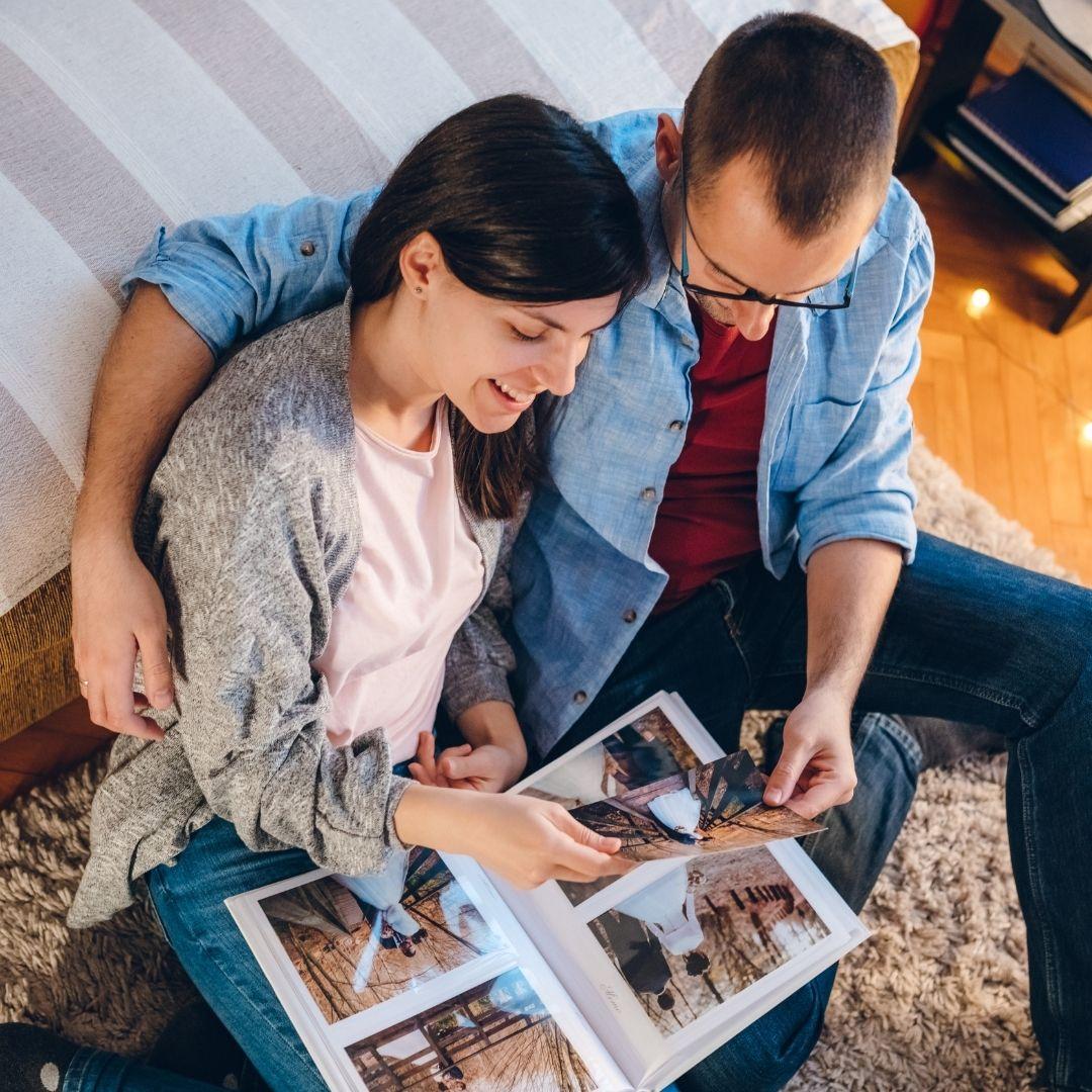 couple looking through photos