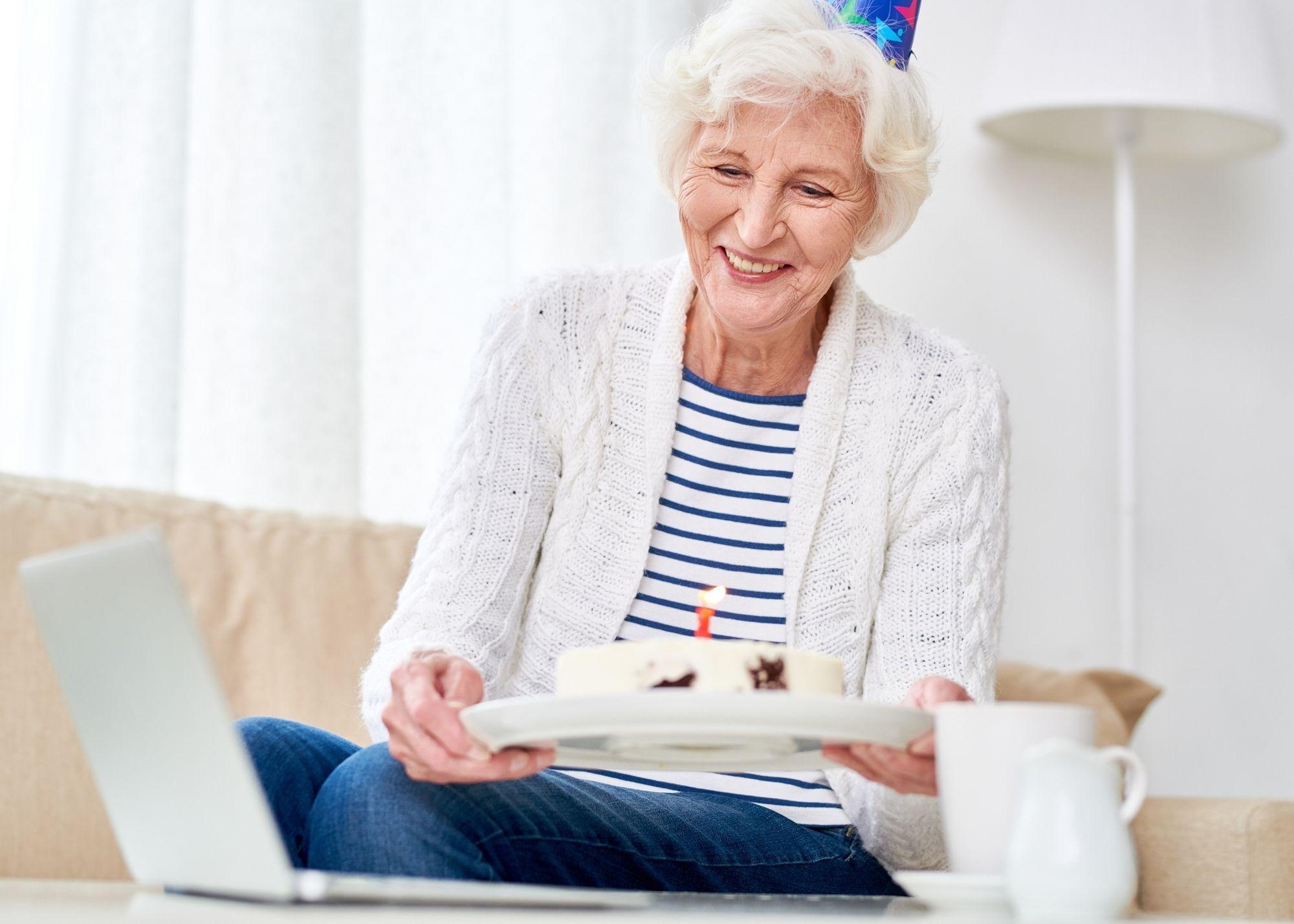 older woman making video