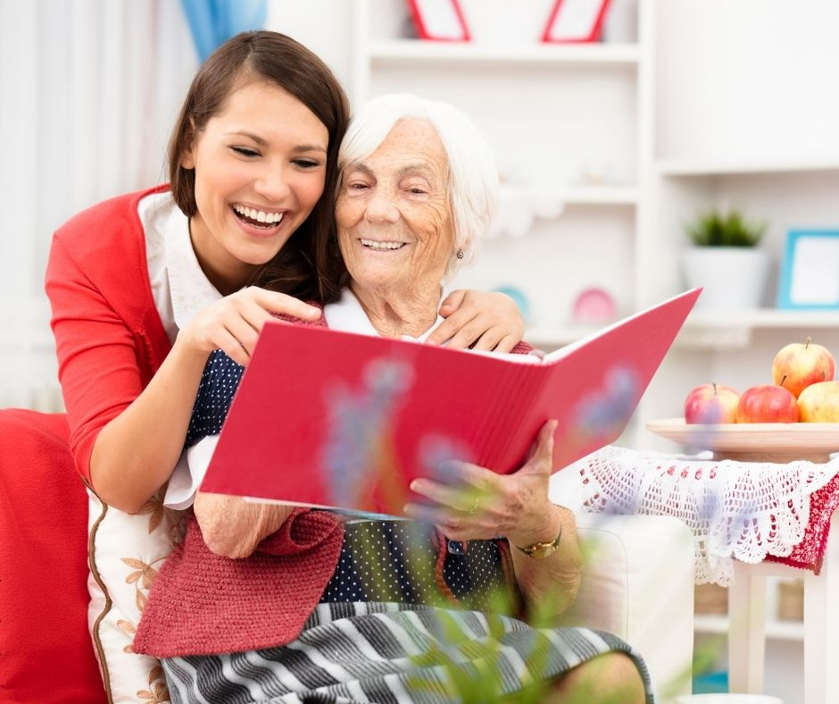 Young woman sharing a special moment with Grandma