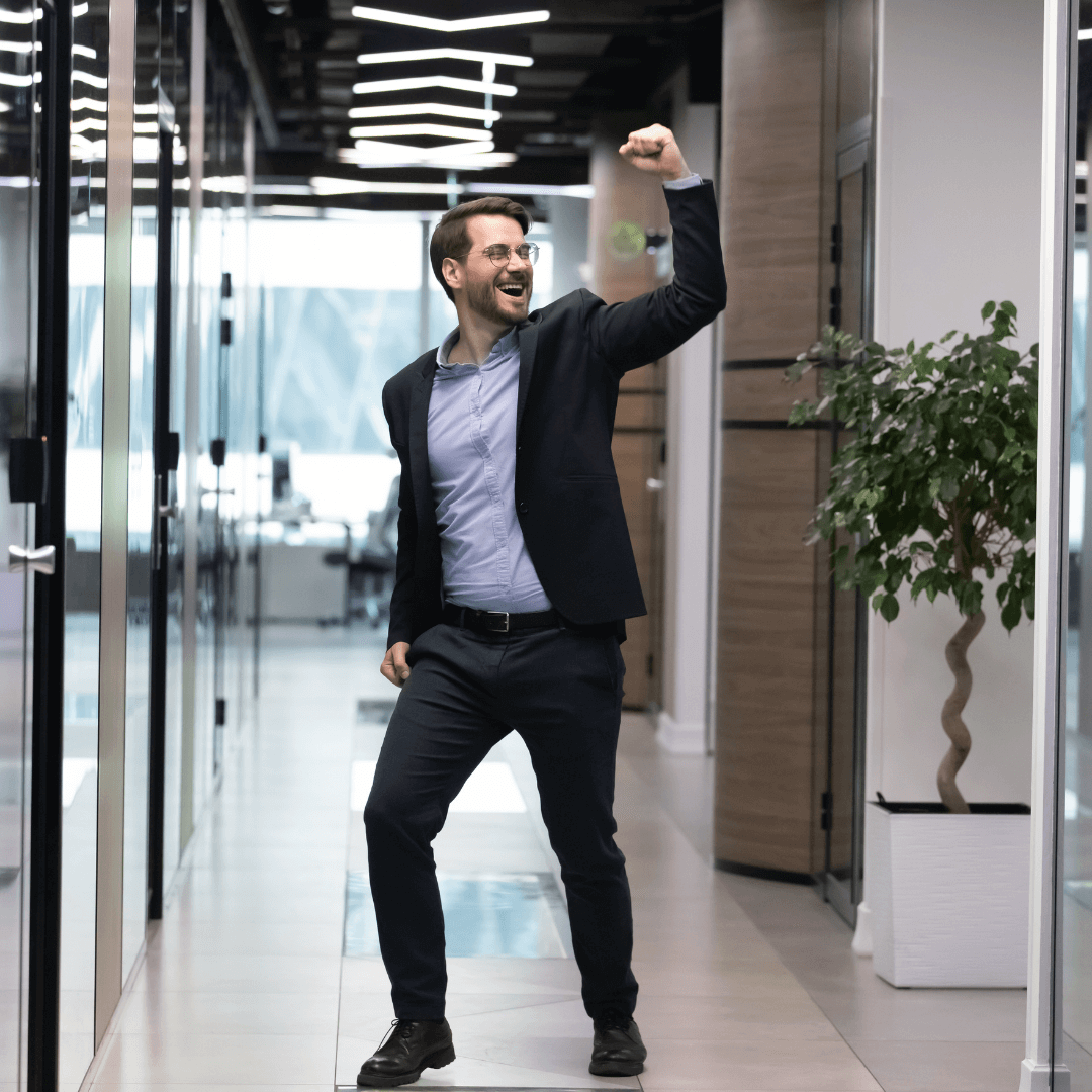 guy dancing in office