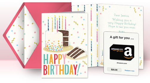 digital greeting card with gift card