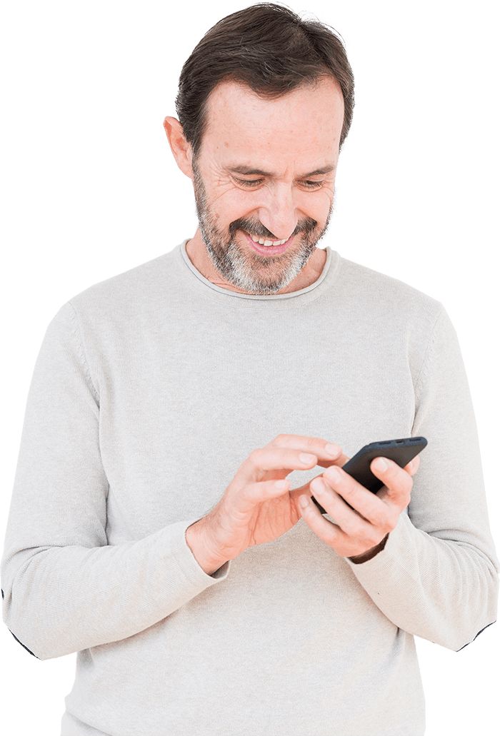 Man using phone to view group video