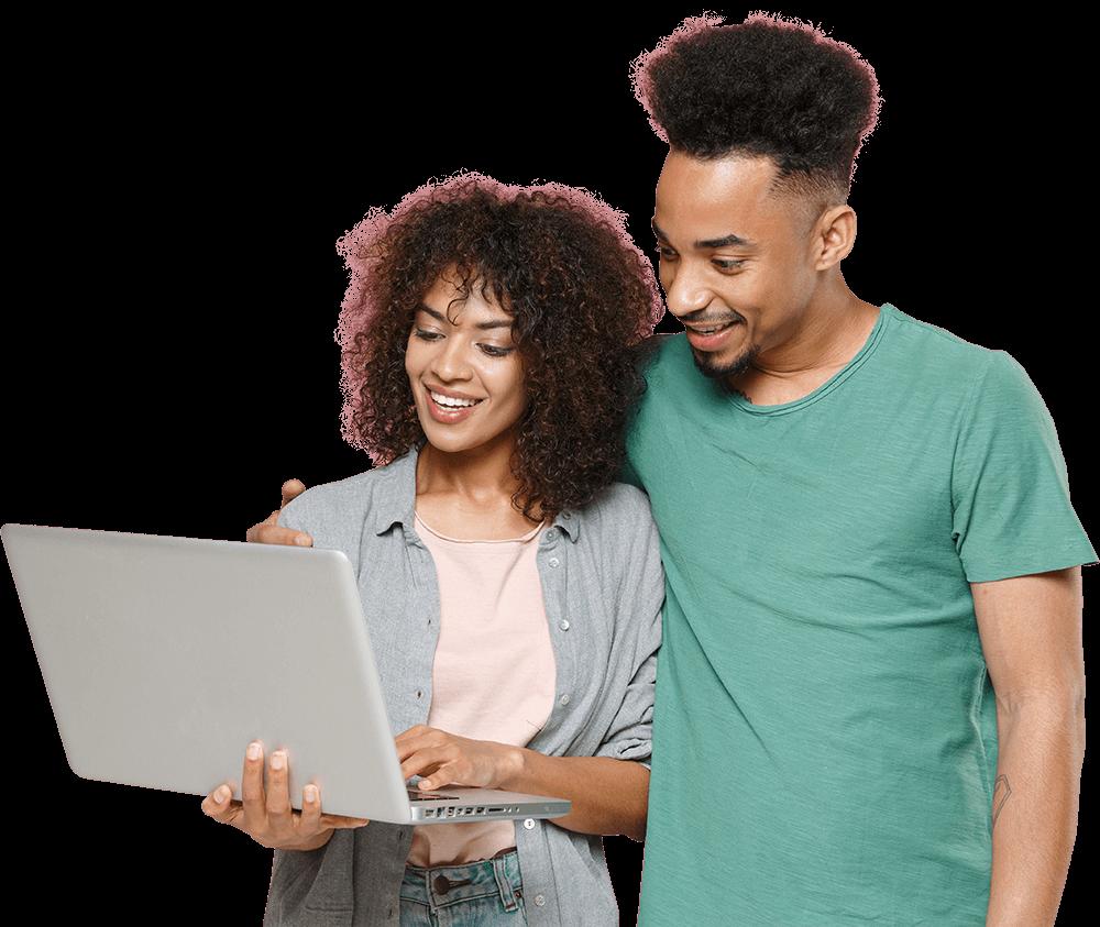 Couple using Laptop to view Vidhug Video