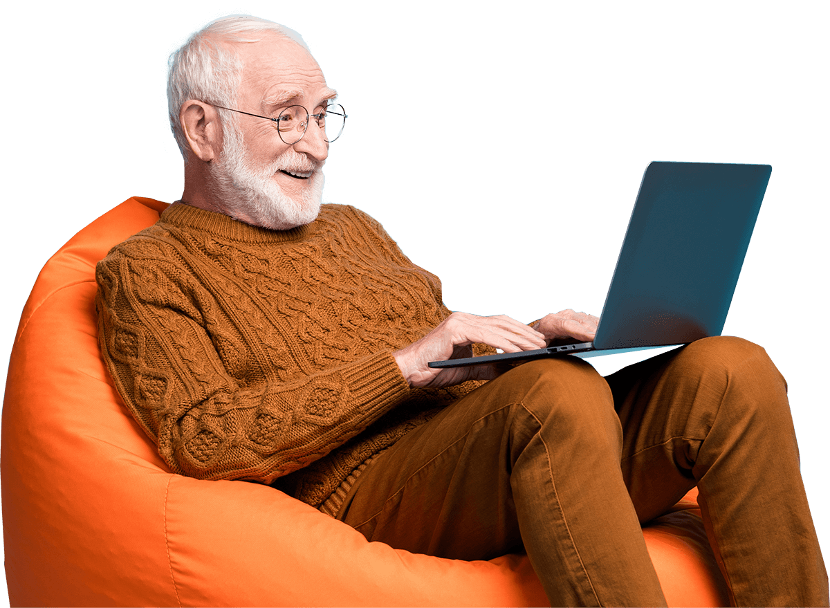 Grandpa watching group video
