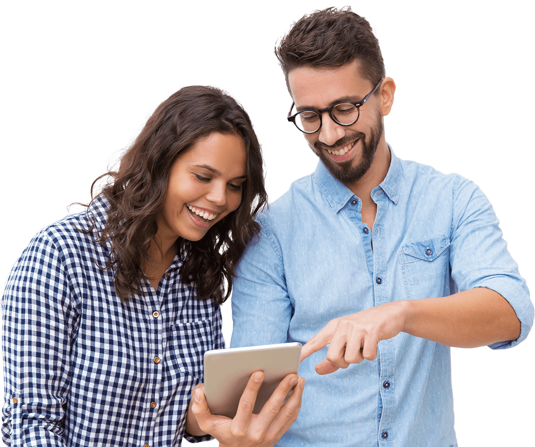 Couple using tablet to view group video