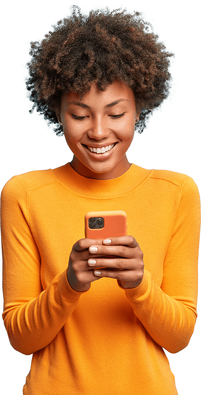 Woman using phone to view Vidhug video