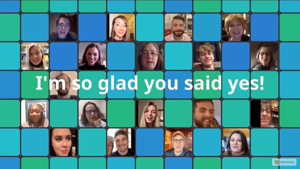 Collage with faces of people in engagement video.