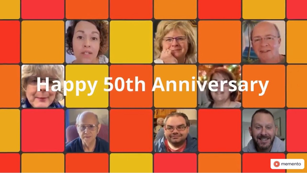 Collage with faces of people in 50th Anniversary video.