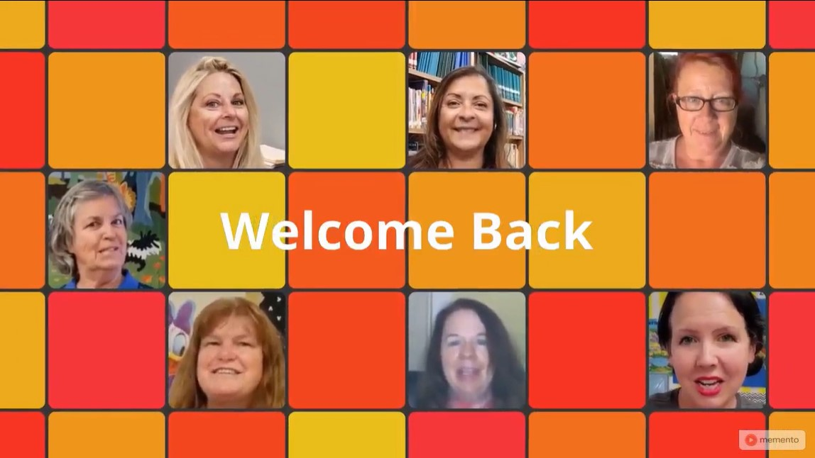 A collage of people who appear in a Welcome Back to School group video.