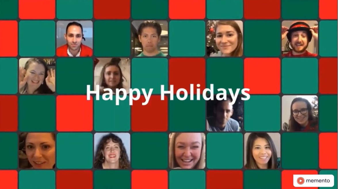 A collage of the people who appear in ZeroCater's Happy Holidays group video