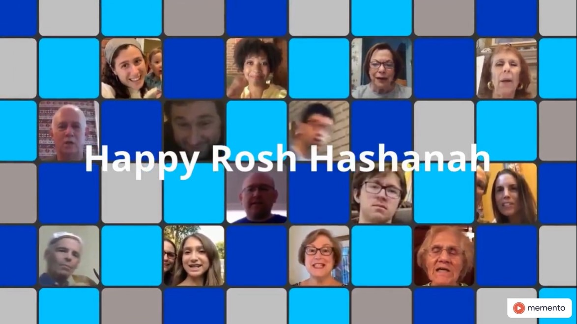 Collage of people who appear in Rosh Hashanah greeting video