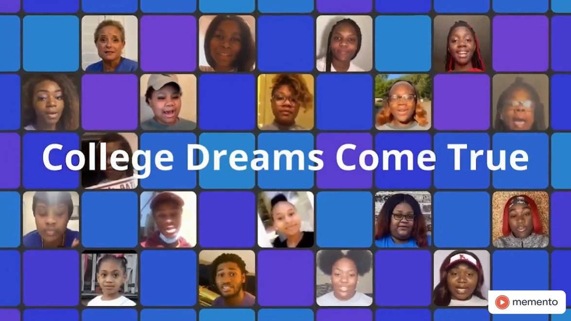 A collage of students appearing in the college choice group video