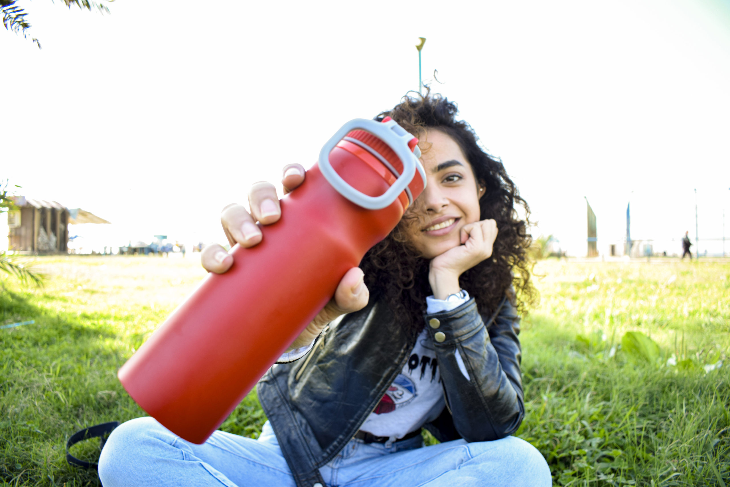 Mais with her favorite reusable bottle