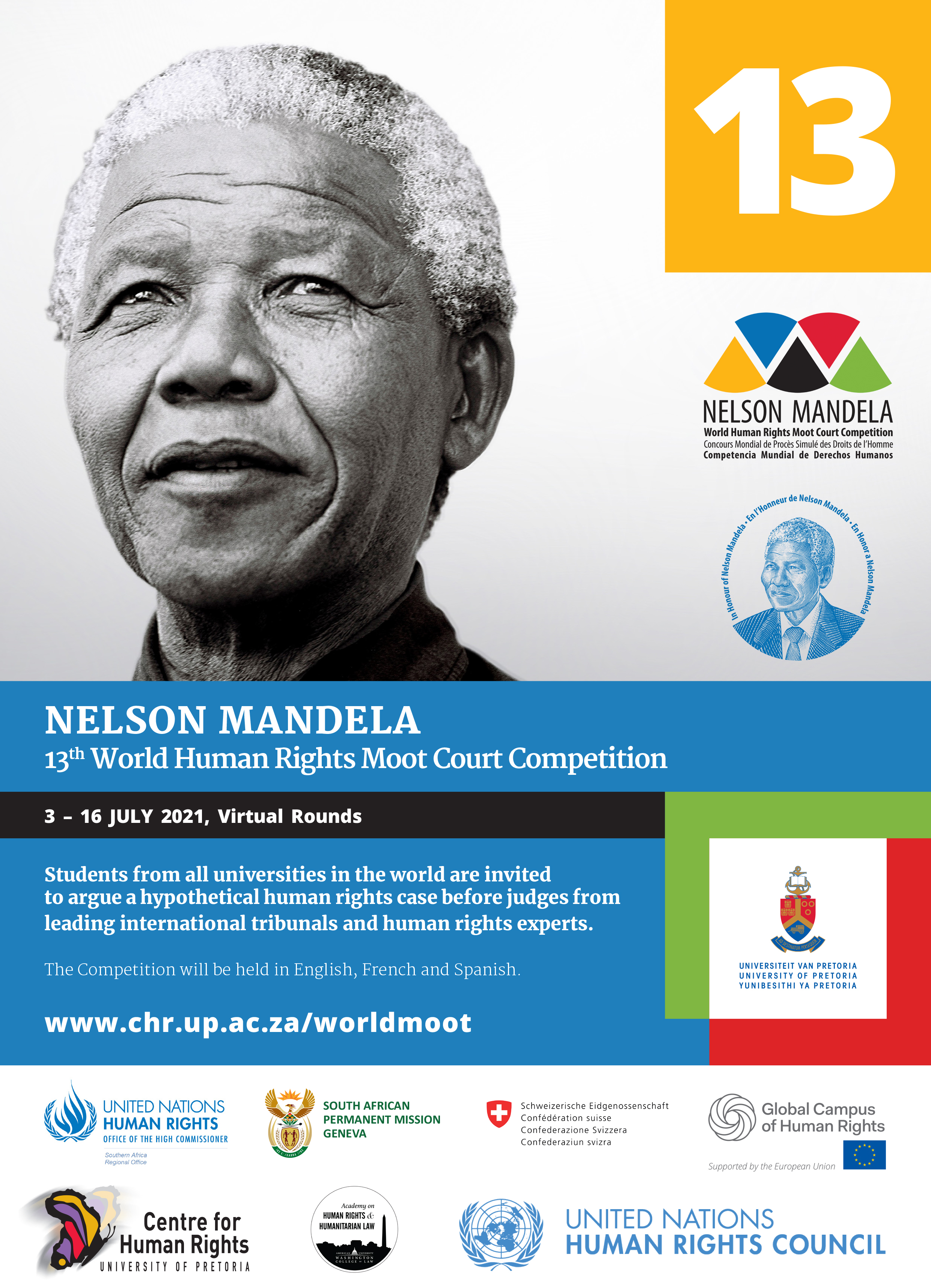 A poster of the Nelson Mandela World Human Rights Moot Court competition.