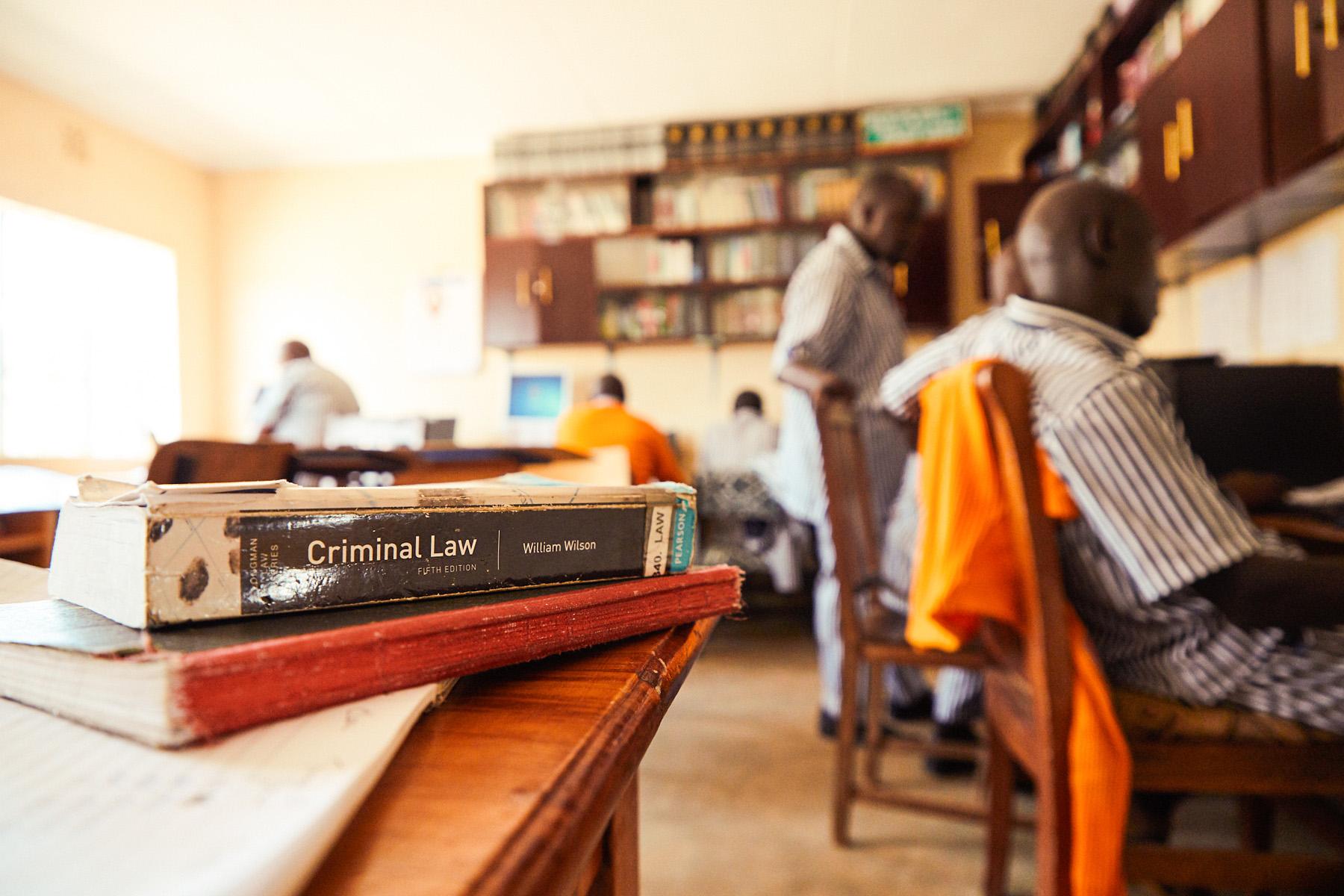 Paralegals tracing and reviewing case files at Kamiti Prison, Kenya.