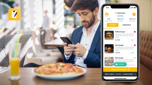 man browsing restaurant digital menu