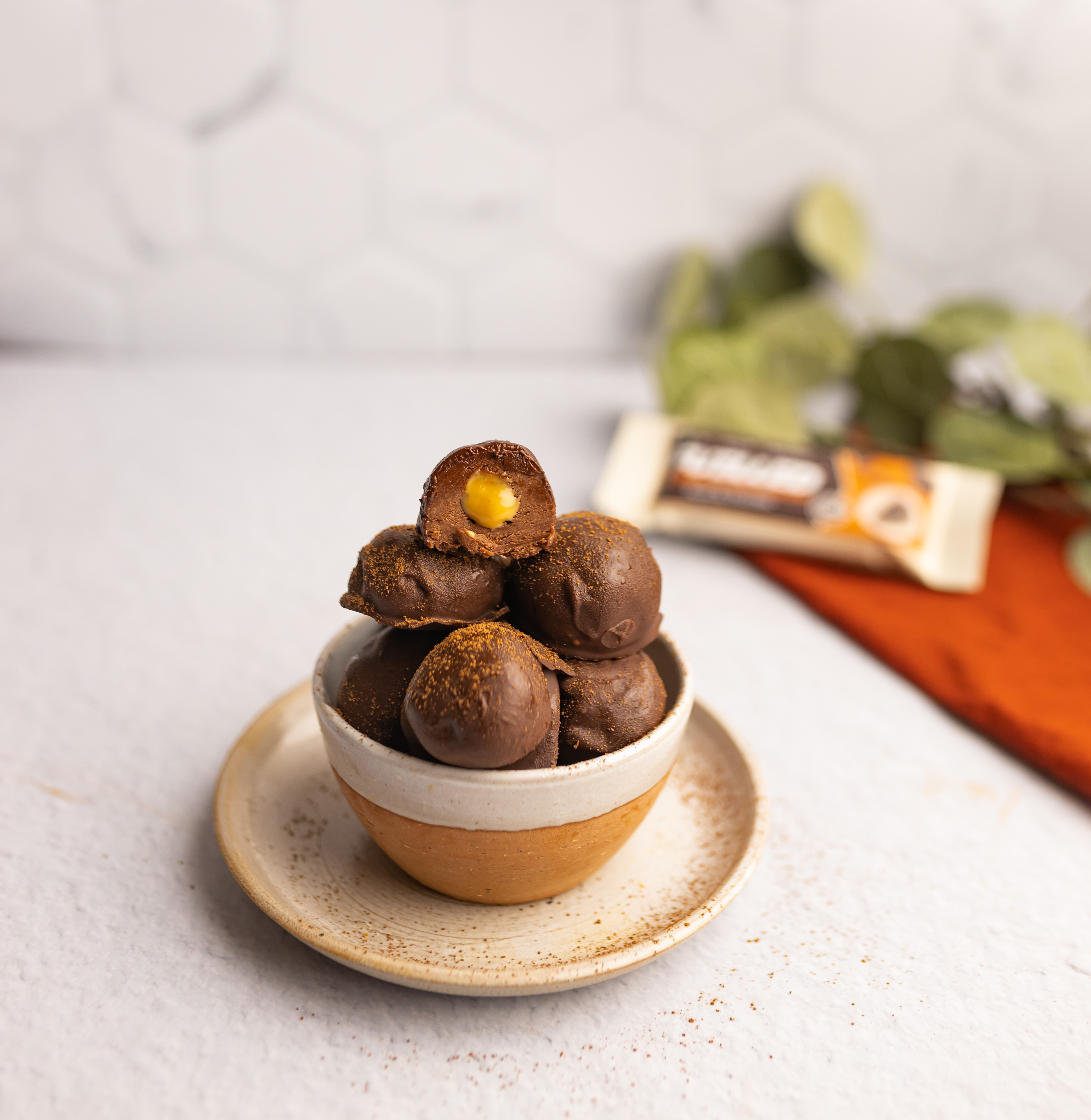 Peanut Butter Truffles made with Fuelled Death By Chocolate Protein Bar