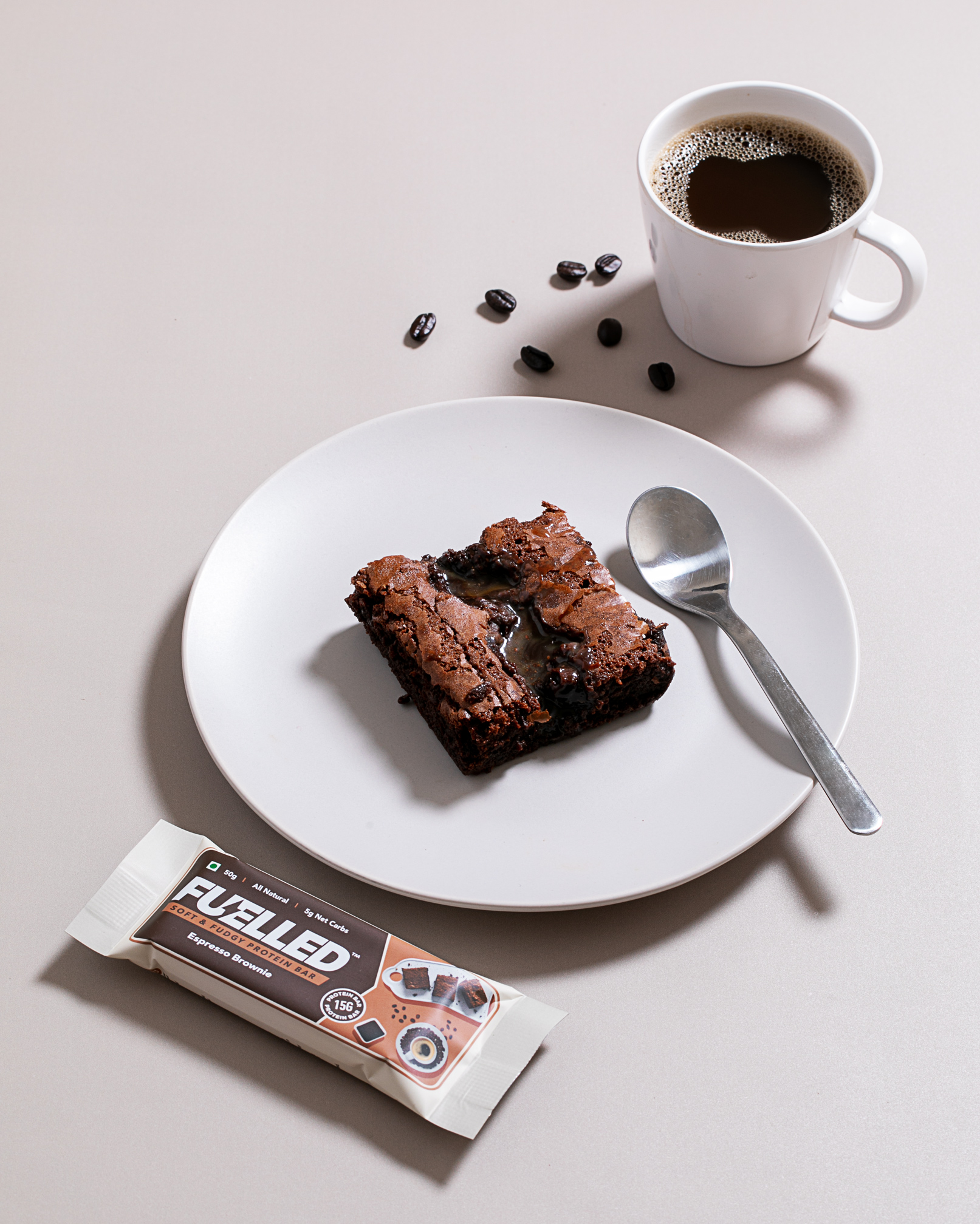 Fuelled Espresso Brownie Protein Bar Kept With a Brownie and an Espresso Shot