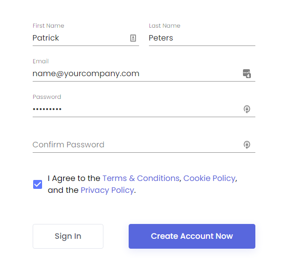 sign up page on serp pro