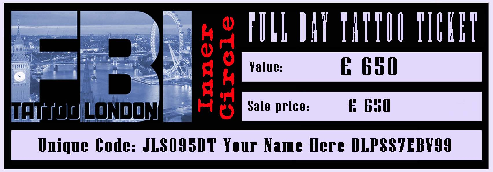 FULL DAY tattoo session ticket