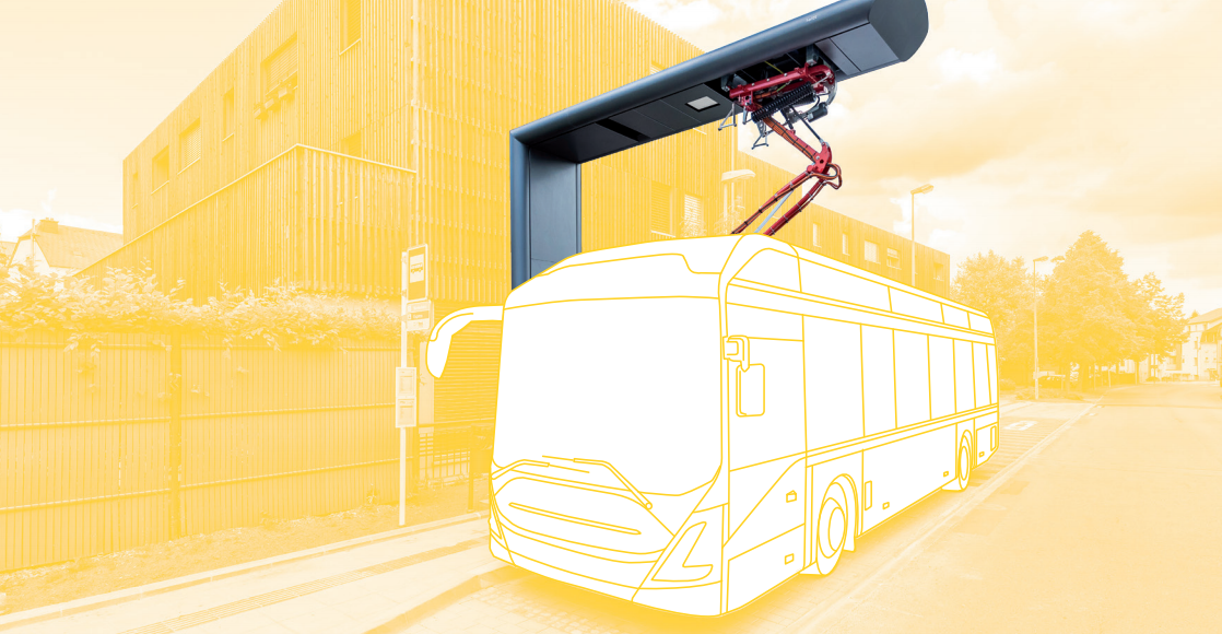 E-Bus charging at a Heliox rapid charhing station