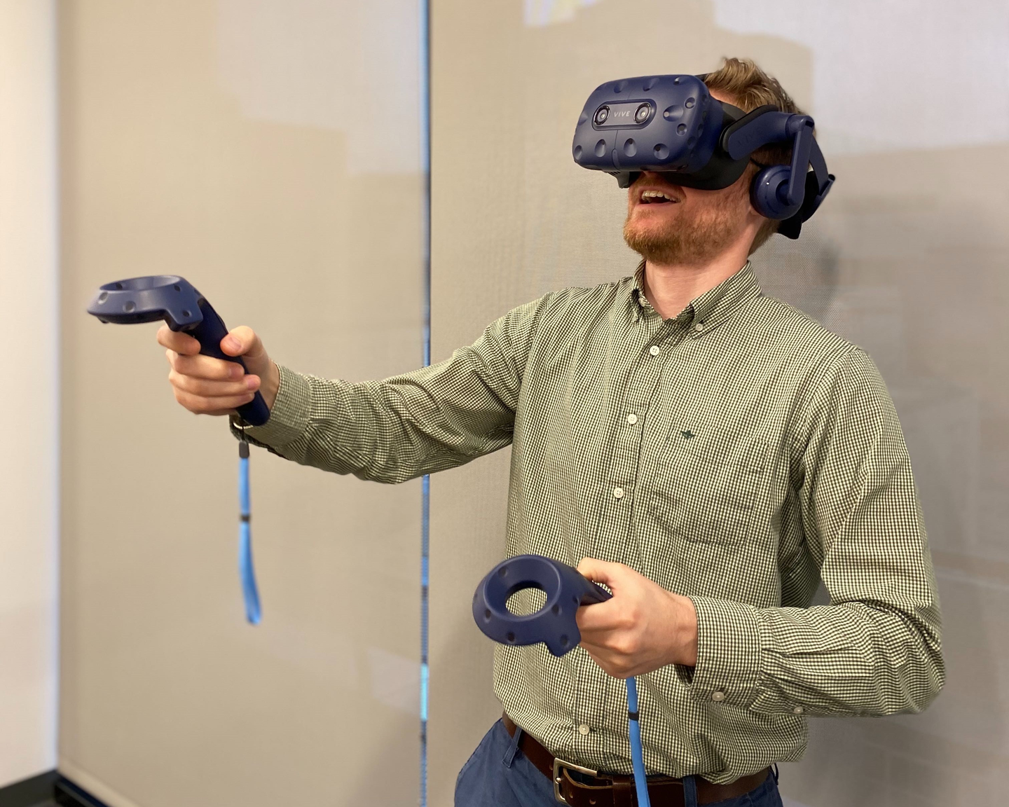 A setup of a computer, hand devices, a headset, and a couple of sensors, can immerse trainees in an environment to practice.