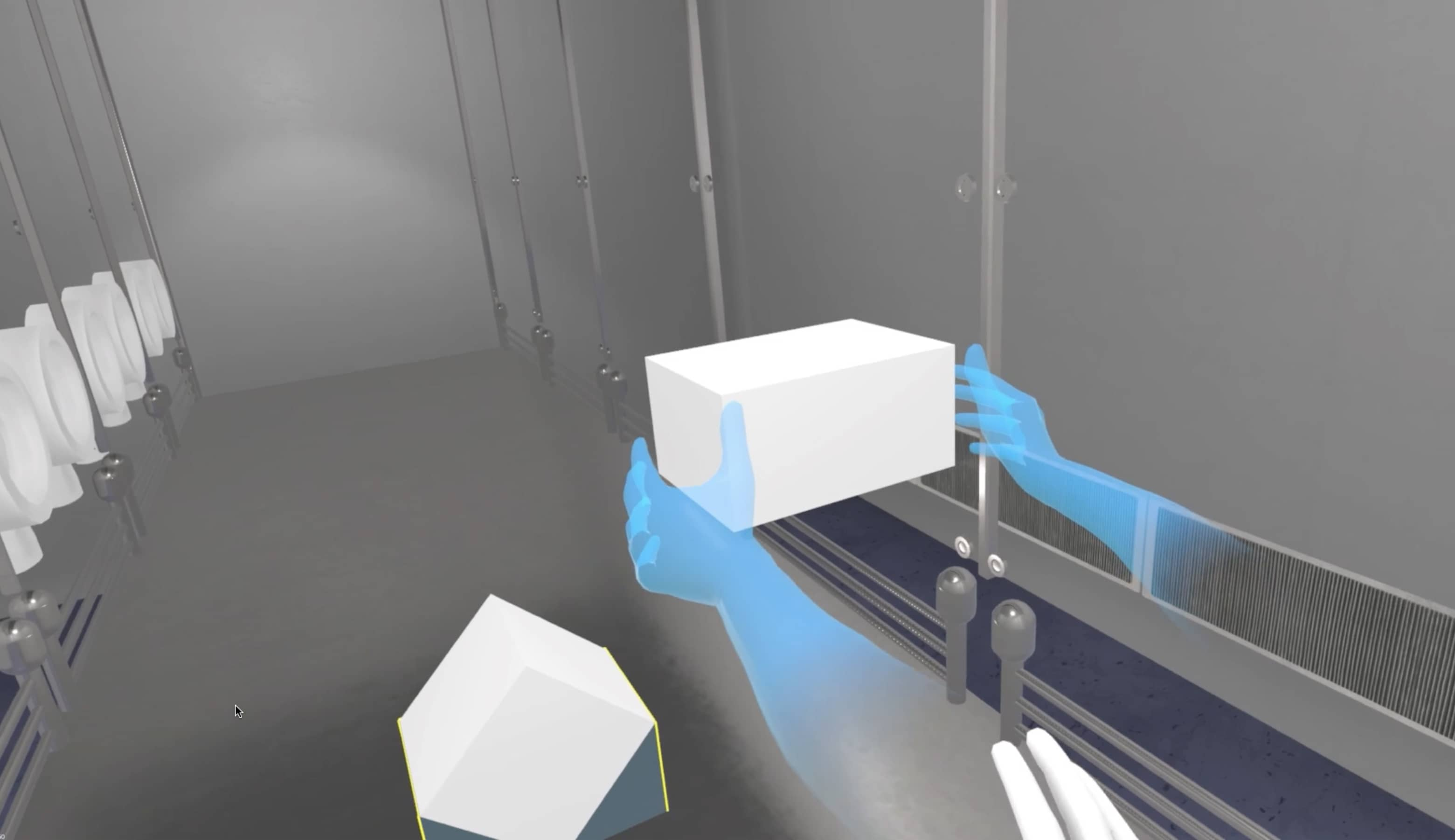 Screenshot of VR Experience with a lab tech training on a pharma task.