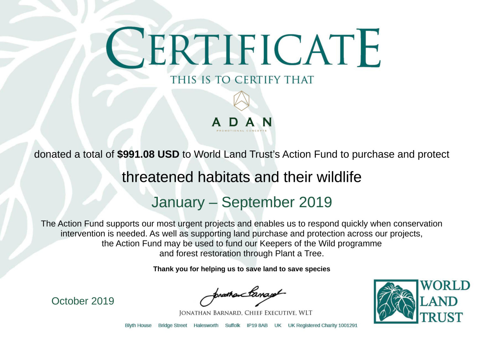Certificate of World Land Trust projects in Ecuador