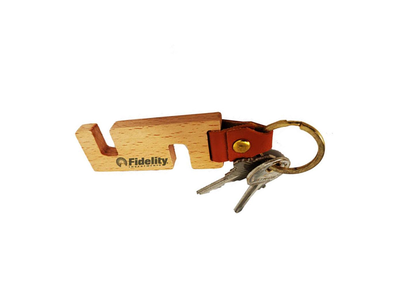 Eco Friendly Wooden Phone Holder Keyring