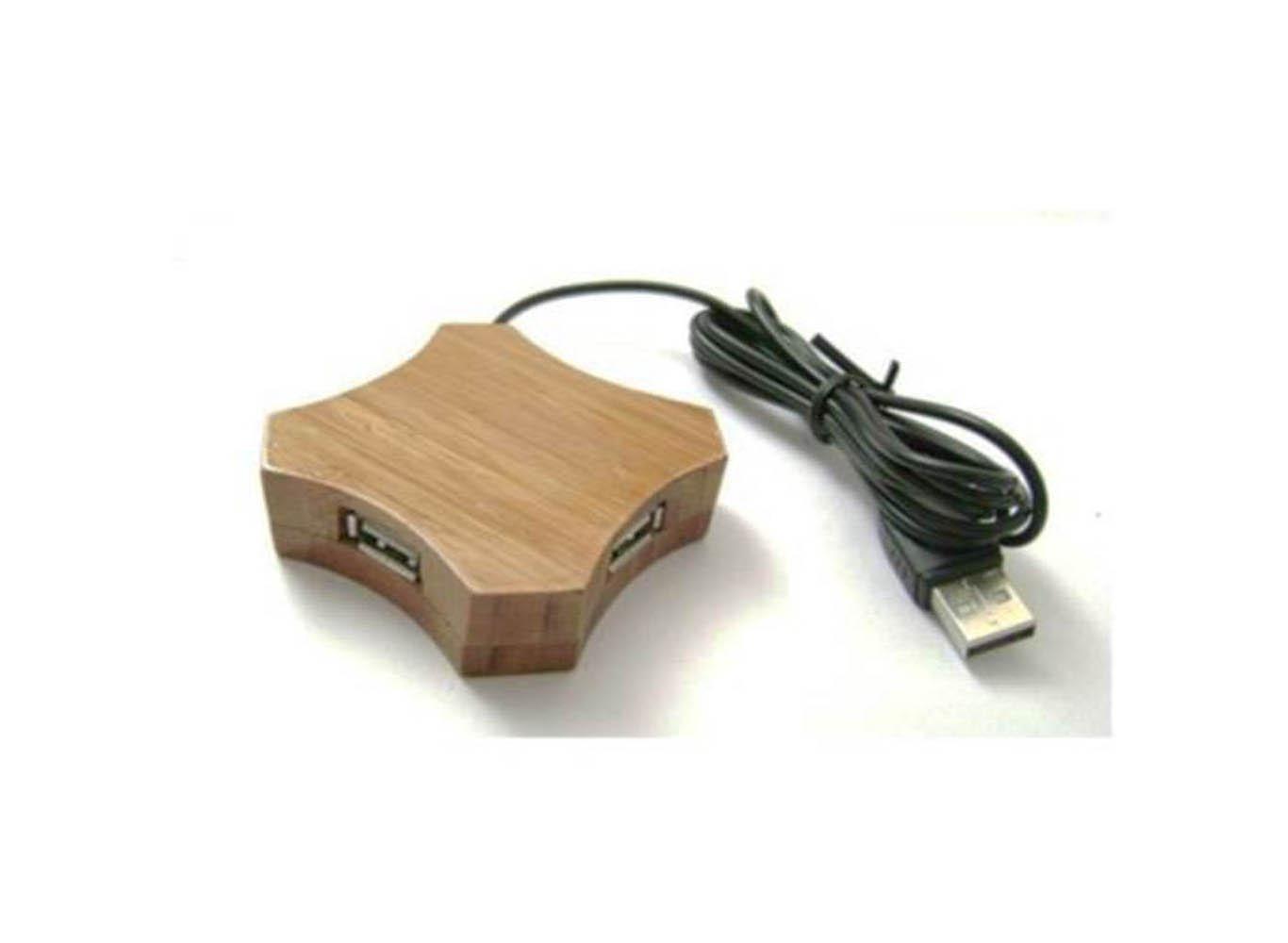 Four-Port 2.0 Bamboo USB Hub