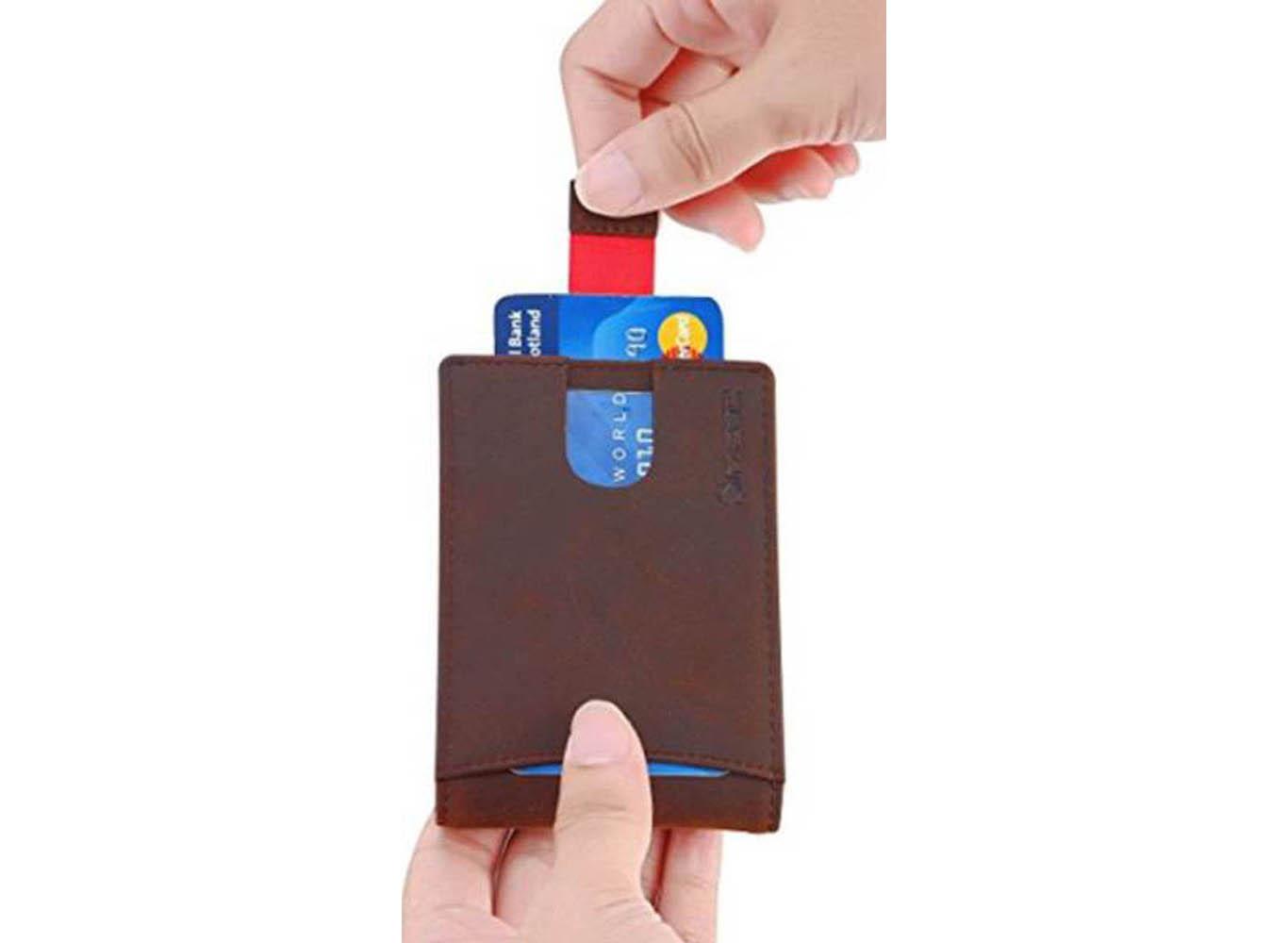 RFID Leather Slider Smart Wallet