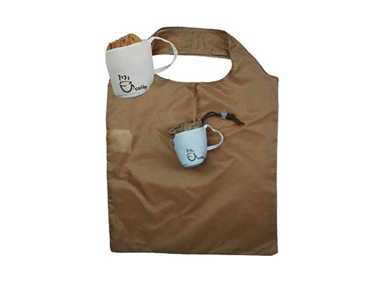 Custom Coffee Cup Shaped Pouch RPET Folding Bag