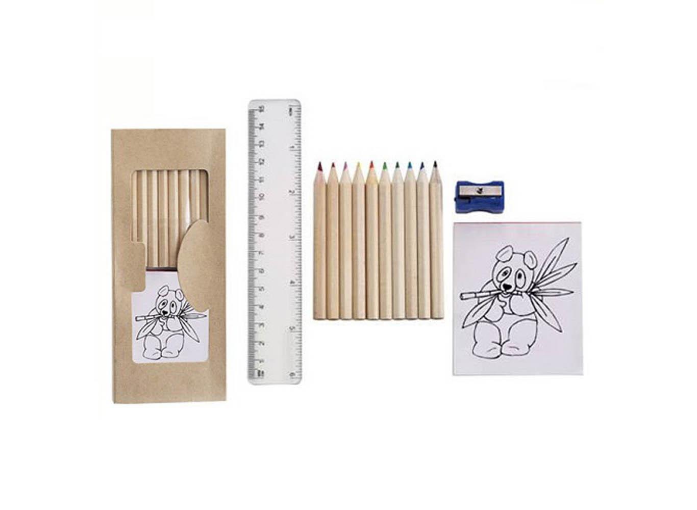 Custom Logo Wooden Coloring Pencil Set w/ Sharpener & Booklet
