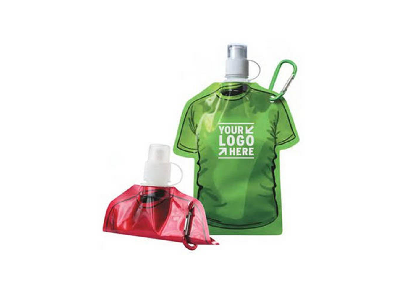 Flat Fold Up Reusable Water Pouch w/ Carabiner