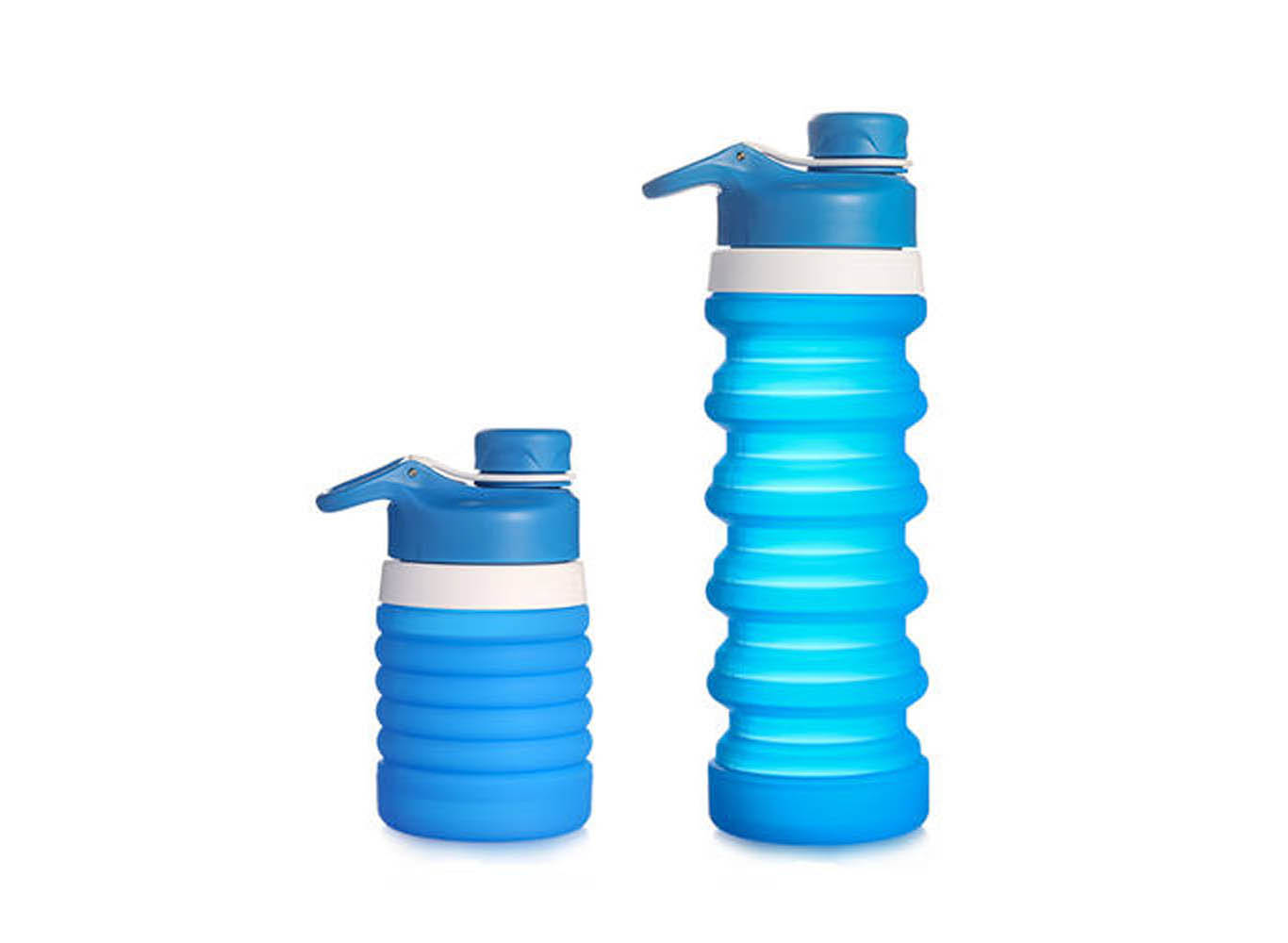 Custom Collapsible Silicone Water Bottle 2-Way Screw Lid