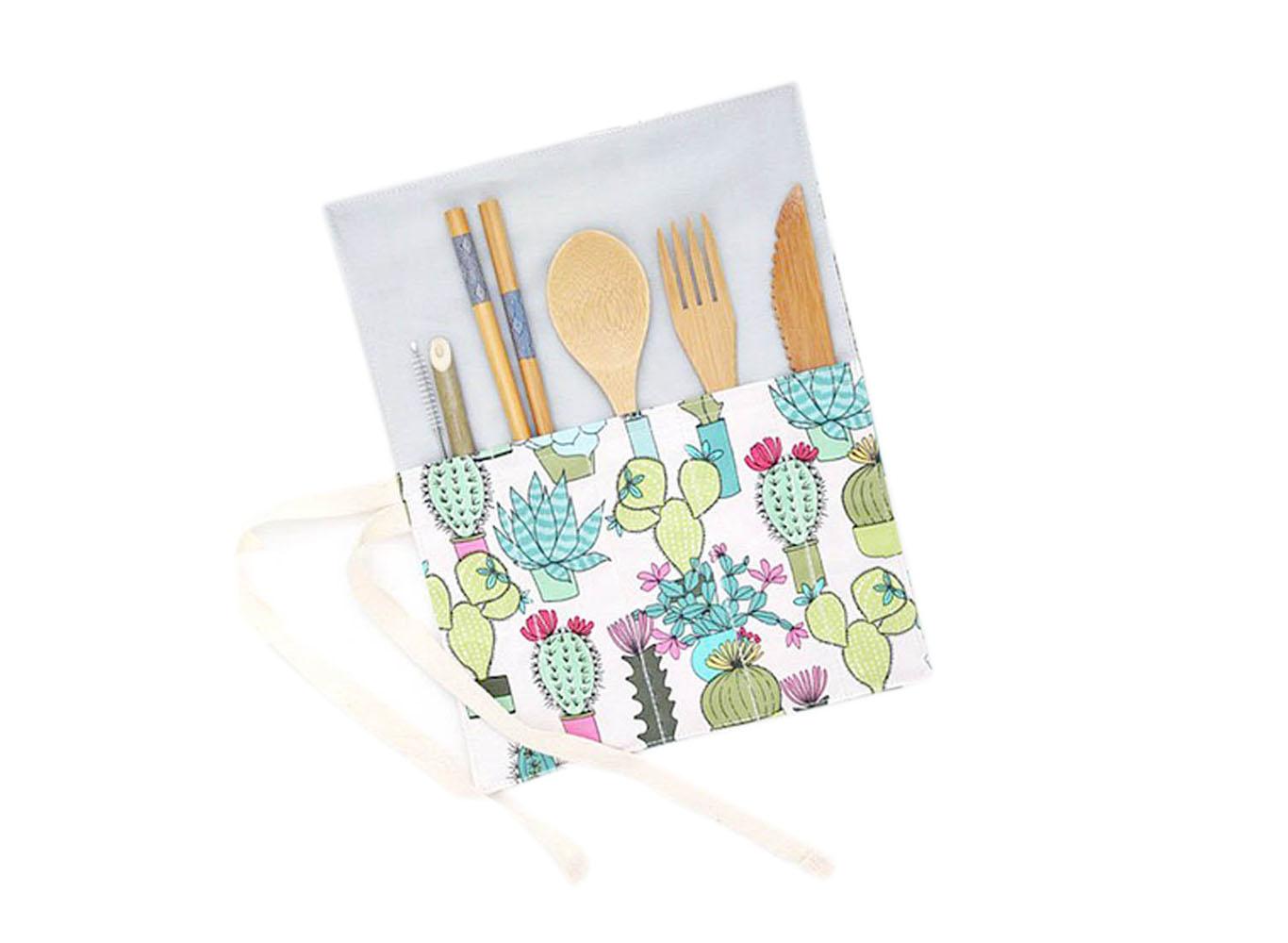 Bamboo Cutlery Set Custom Print Fold Up Pouch