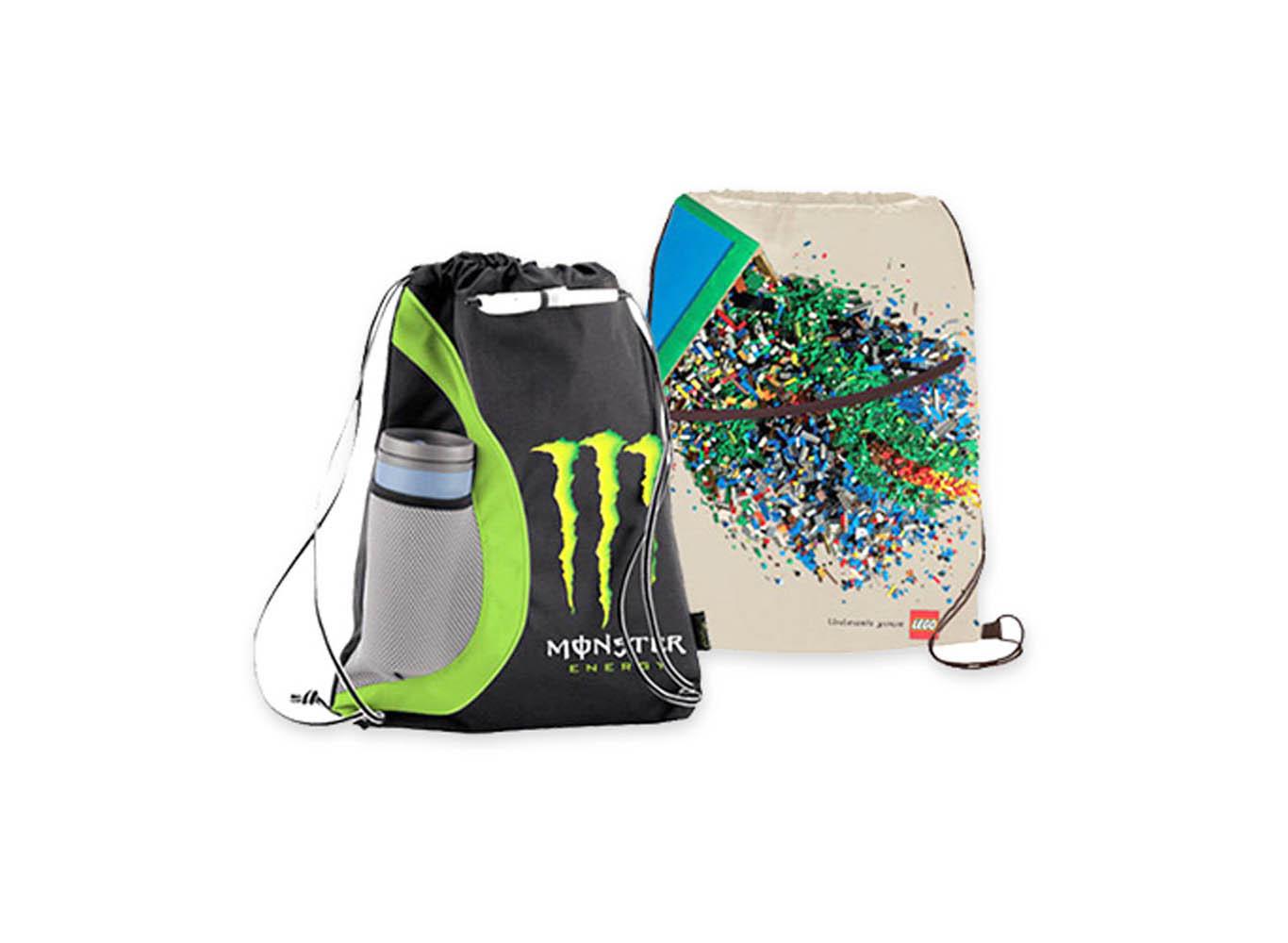 Custom Design RPET Drawstring Bag w/ Water Bottle Holder