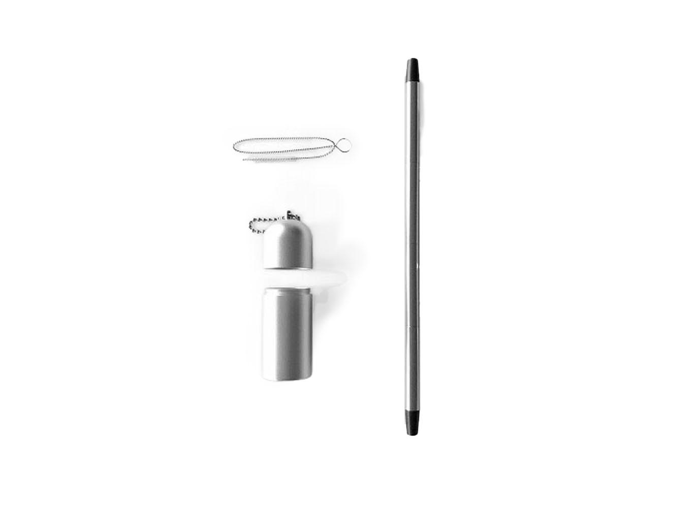 Custom Logo Reusable Foldup Stainless Steel Straw w/ Carry Case Brush